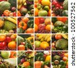 Collage made of many images of different fruits and vegetables - stock photo