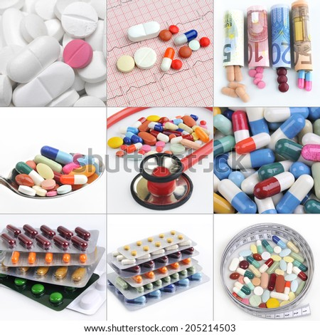 collage medical background of pills and capsules