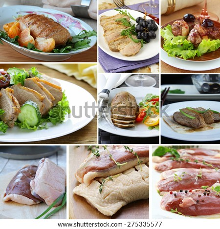 collage menu  duck dishes and raw fillets