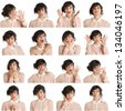 Collage of a woman with different facial expressions on a white background - stock
