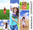 Collage of beautiful summer girl - stock photo