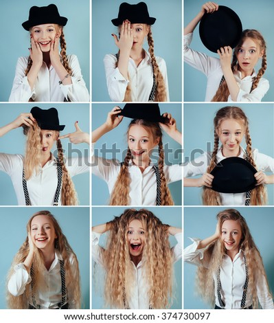 Collage of blonde girl with different facial expressions. Nine beautiful photos of one girl face