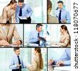 Collage of business partners working in office - stock
