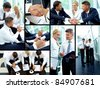 Collage of business partners working in team and making agreements - stock photo