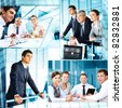 Collage of business people at work and during break - stock photo