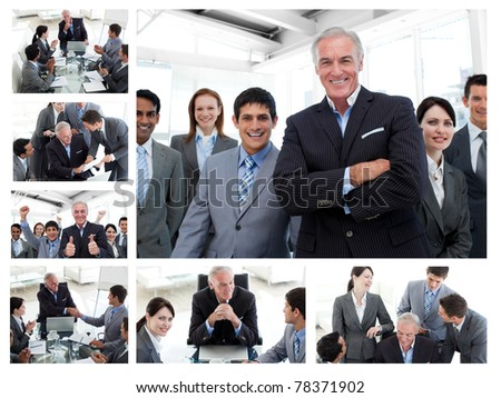 Collage of business people posing and working at the office