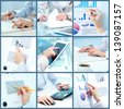Collage of businesswoman hands working with touchpad and papers in office - stock photo