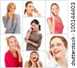 Collage of cheerful young beautiful women talking on cell phone and smiling, isolated on white background. - stock photo