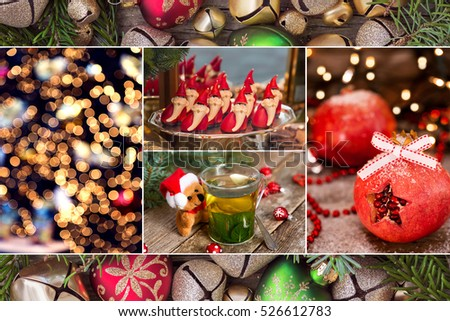 Collage of Christmas photos in red colors