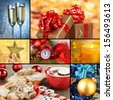 Collage of christmas time and decorations - stock photo