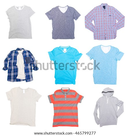 collage of clothes on a white background