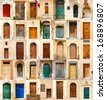collage of 35 colourful colored front doors to houses from Malta - stock photo