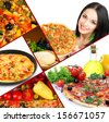 Collage of delicious pizza with ingredients - stock photo