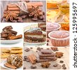 Collage of dessert. Chocolate cake, cookies, cake and tea. - stock photo