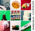 Collage of different medical supplies - stock photo