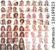 Collage of different pictures of women in sepia gesturing on white background - stock photo