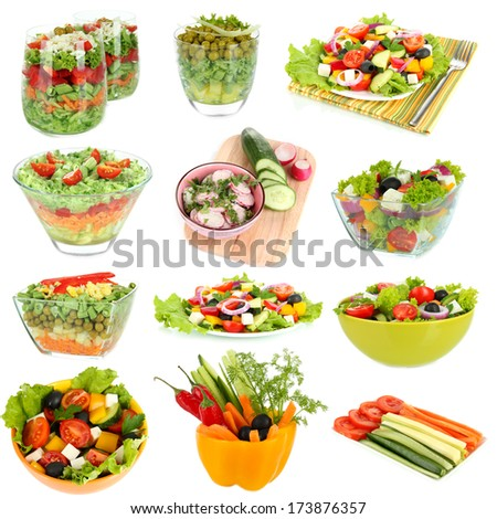 Collage of different salads isolated on white - stock photo