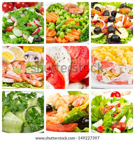 Collage of different salads with fresh vegetables