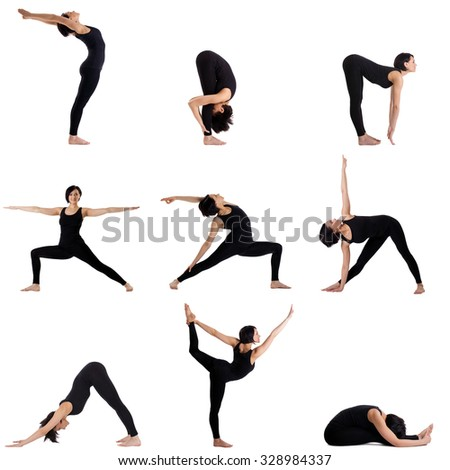 Collage of different yoga poses by pretty woman
