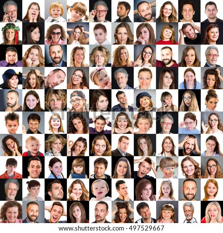 Collage of diverse multi-ethnic and mixed age people expressing different emotions