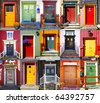 Collage of doors in Roros. Norway - stock photo