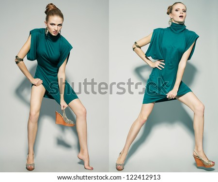 Collage of emotional portraits of a gorgeous fashion model posing in green (blue) dress over gray background. studio shot