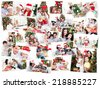 Collage of families celebrating Christmas against snow falling - stock photo