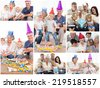 Collage of families enjoying celebration moments together at home against snow falling - stock photo