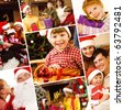 Collage of family, children and Santa symbolizing Christmas celebration - stock photo