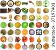 Collage of food isolated over white background - stock photo