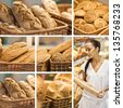 collage of Fresh baked bread - stock photo