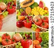 collage of fresh fruits and vegetables isolated on white background - stock photo