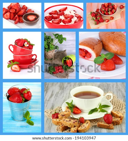 Collage of fresh strawberry