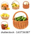 Collage of fruits and vegetables in wicker basket isolated on white - stock photo