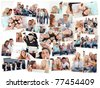 Collage of groups of young people having fun together in various situations - stock photo