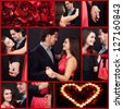 Collage of happy couple in love at Valentine�¢??s day - stock photo