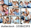 Collage of happy family resting at home - stock