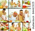 Collage of happy family vegetarians cooking and having breakfast - stock photo