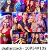 Collage of happy friends having party - stock photo