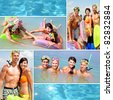Collage of happy young adults scubadiving on vacation - stock photo