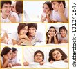 Collage of happy young couple spending time together - stock photo