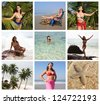 Collage of Happy Young Woman Enjoying and Relaxing on the Beach - stock photo