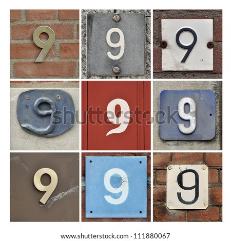 Collage of House Numbers Nine