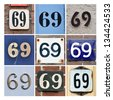Collage of House Numbers Sixty-nine - stock photo