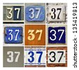 Collage of House Numbers Thirty-seven - stock photo