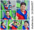 Collage of images happy teens boy sitting near painted wall and having fun - stock