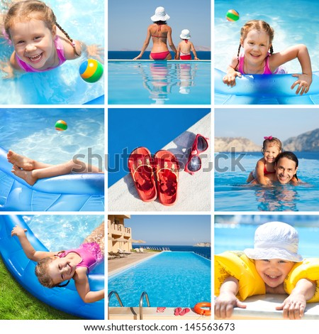 Collage of images on the theme of children's activities and swimming in the water at the resort