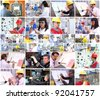 Collage of images with people from different professions at work. - stock photo