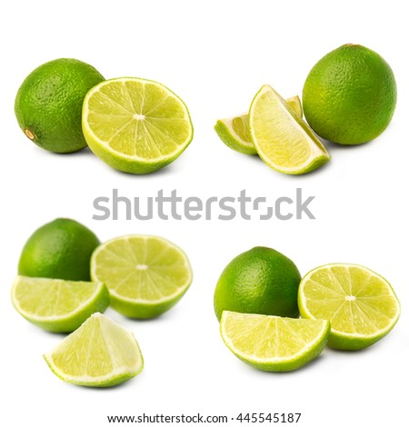 Collage of juice lime on white background