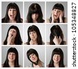 Collage of nine different facial expressions by an attractive young brunette woman -  very high resolution - stock photo